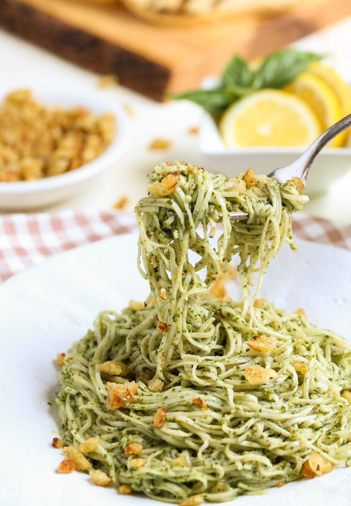 Pecan Pesto with Garlicky Breadcrumbs