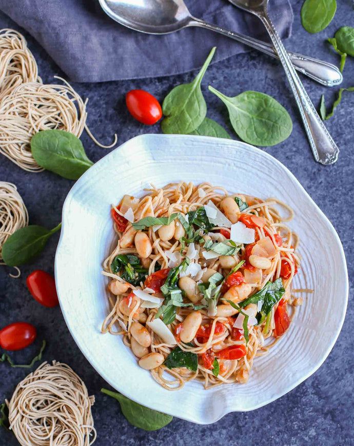 Roasted Tomatoes, White Beans, and Spinach Pasta