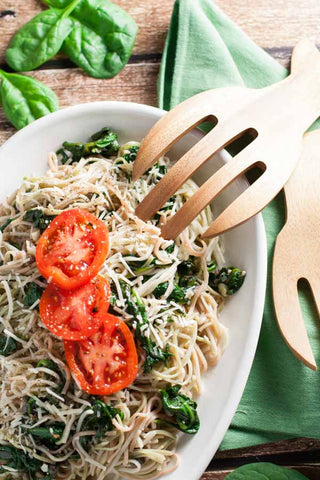 Angel Hair Pasta with Garlic and Spinach