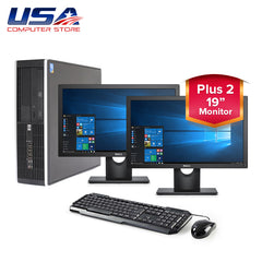 "Complete Dual Set HP 8000 Elite Intel Core 2 Duo 3.0GHz 4GB 250GB Win 10 + 19"" LCD Monitors"