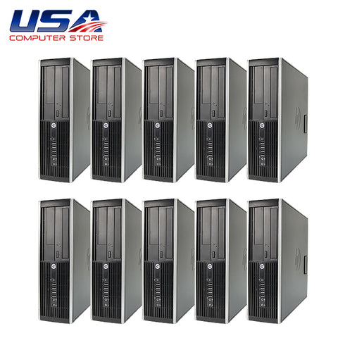 Picture of Lot of 10 HP 8000 Elite Desktop Intel Core 2 Duo 3.0 GHz 4GB 250GB Windows 10 Pro