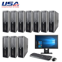 "Lot of 10 Complete Set HP 8000 Intel Core 2 Duo 3.0GHz 4GB 250GB Win 10 + 19"" LCD Monitor"