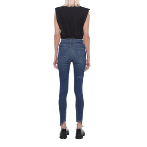 The Split Angle Bleach Drip Skinny Jean