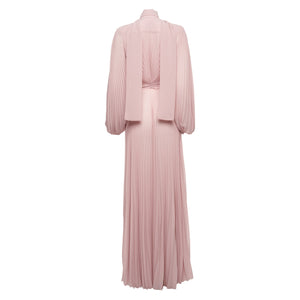 The Olimpo Pussy-bow Draped Pleated Gown