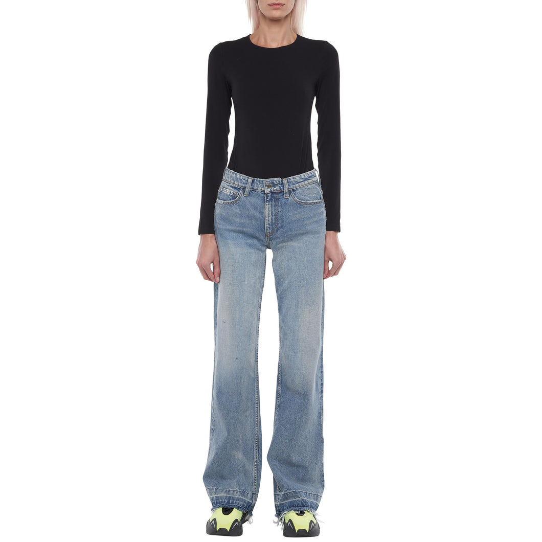 The Mimi Wide Leg Double Hem Jean in Light Indigo