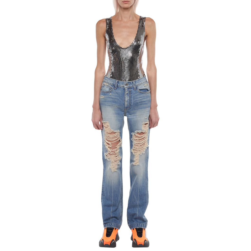 The Sasha Ripped Straight Leg Jean in Light Indigo