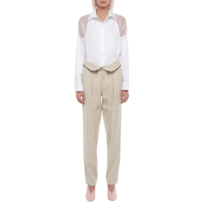 The Zip Pleated Pant in Natural