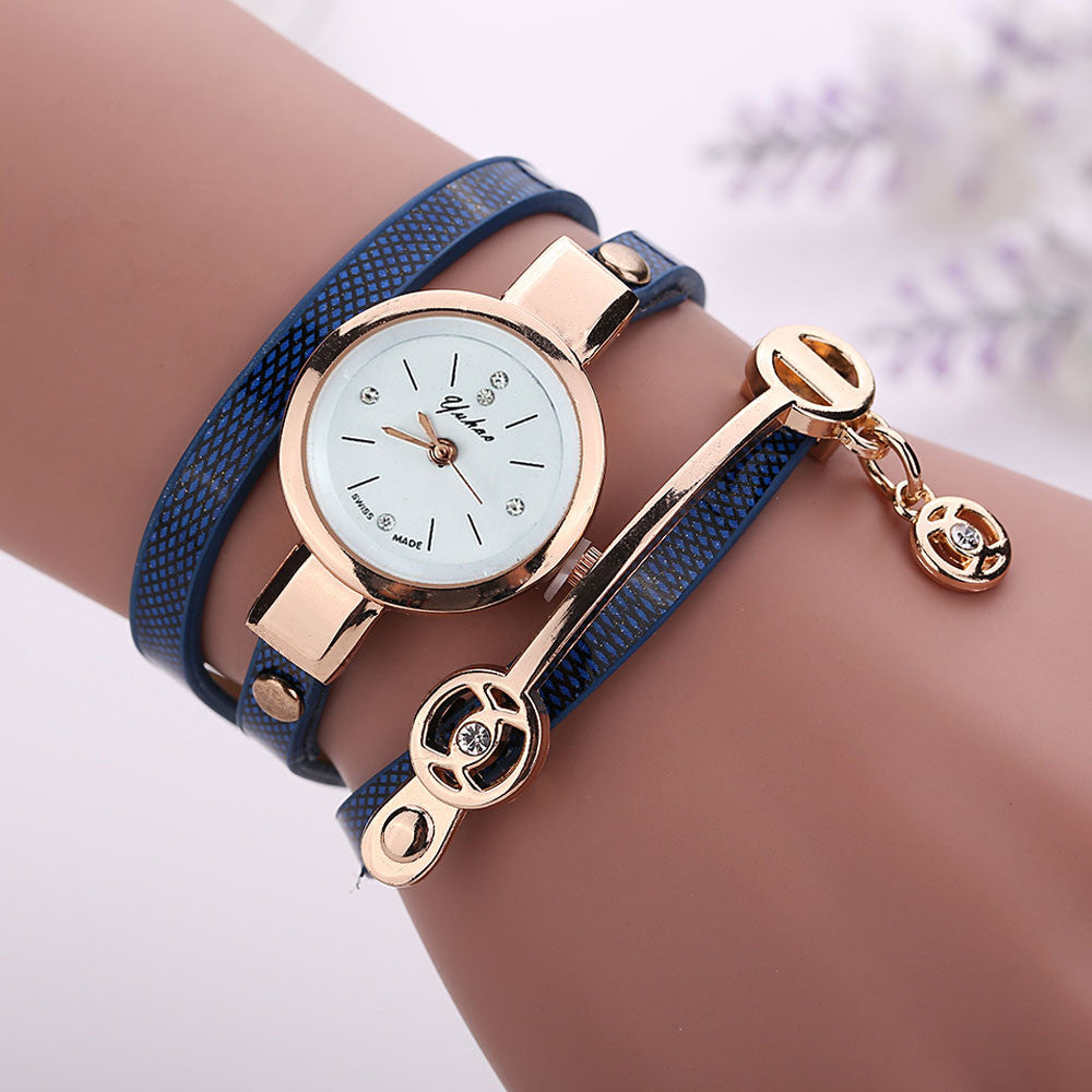 rose watches trim leather tailor fossil strap chrono watch index style ladies casual blue new navy