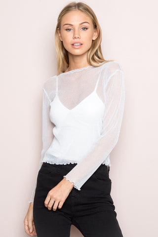 Glitter Sheer Long Sleeve Mesh Top