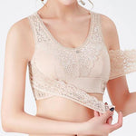 Front Cross Side Buckle Wireless Lace Bra