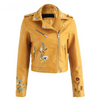 Image of Floral Embroidered Leather Jacket