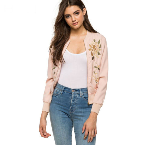 Pink Floral Embroidery Bomber Jacket
