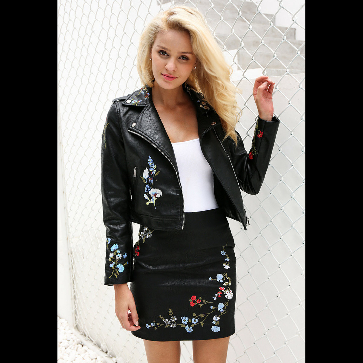 Floral Embroidered Leather Jacket