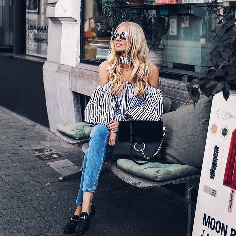 Chic off the shoulder striped top