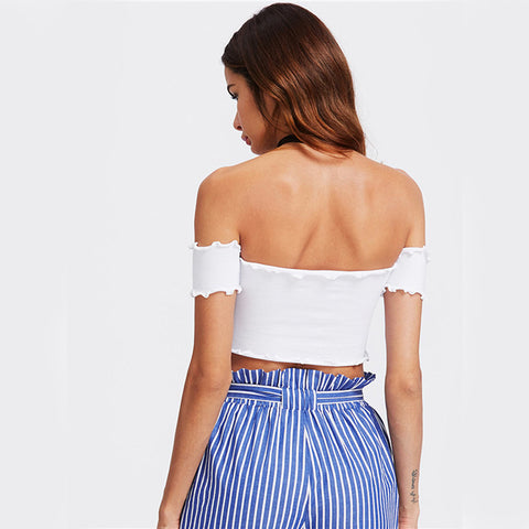 Lettuce Edge Off the Shoulder Crop Top