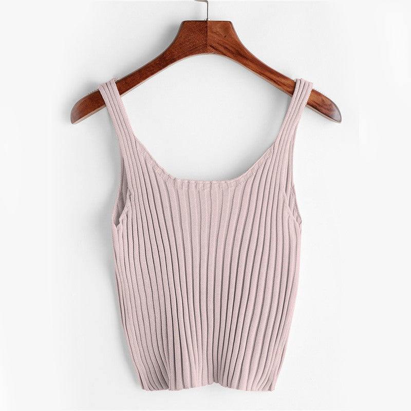 Casual Knit Crop Tank Top