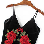 Black Embroidered Rose Cami Dress