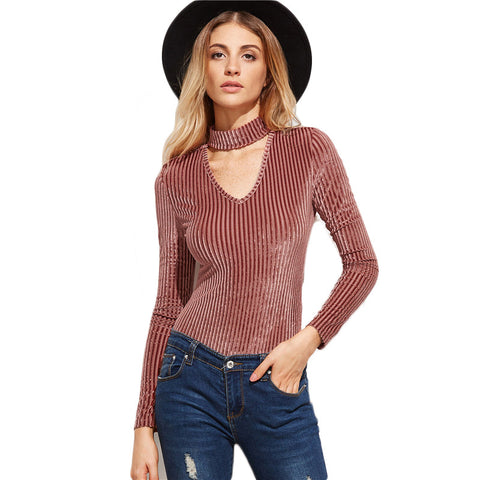 Dusty Rose Choker Stripe Long Sleeve Bodysuit