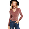 Image of Dusty Rose Choker Stripe Long Sleeve Bodysuit