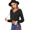 Image of Lace Up Cropped Sweatshirt