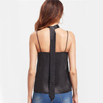 Black Rose Patch Cami Top (With Neck Tie)