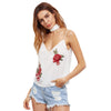 Image of Rose Patch Cami White (With Neck Tie)