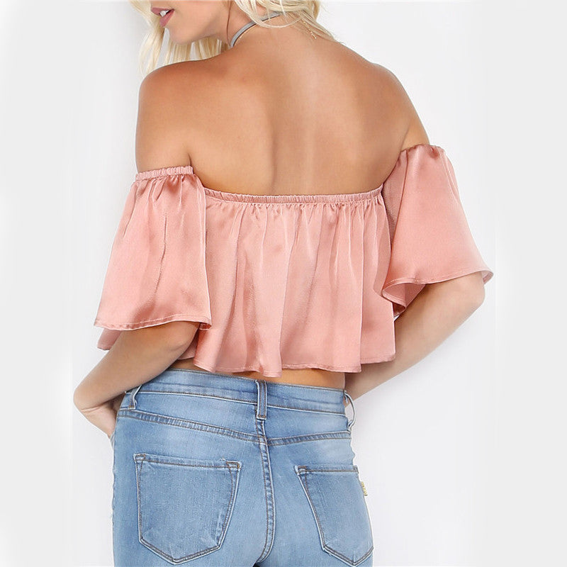 Rose Gold Off The Shoulder Crop Top