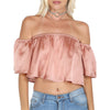 Image of Rose Gold Off The Shoulder Crop Top
