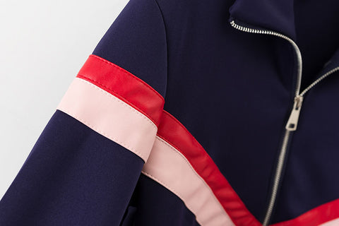 Autumn Varsity Striped Zipper Jacket