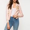 Image of Pink Floral Embroidery Bomber Jacket