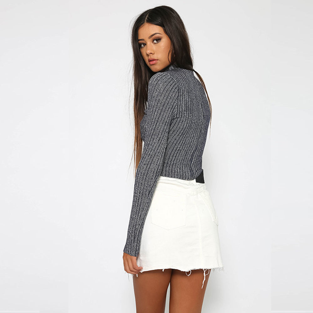 Grey Choker Stripe Long Sleeve Bodysuit