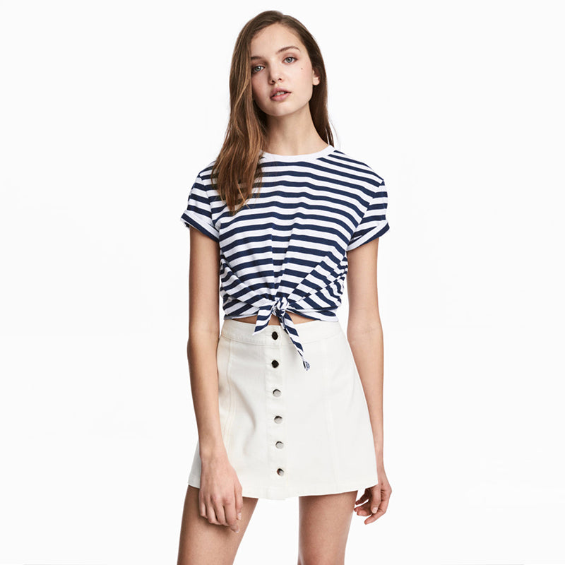 White Button Line Mini Skirt