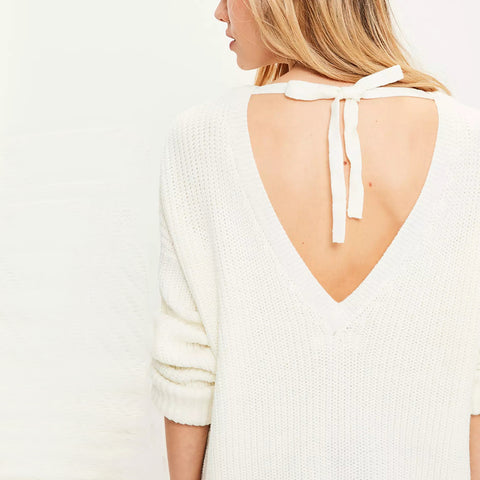 White V-back Tie Sweater