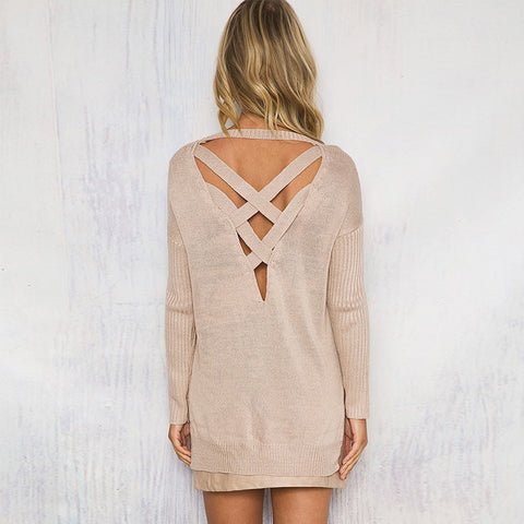 Classic Tan Cross Back Sweater