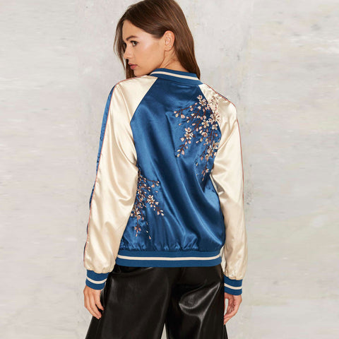 Blue Floral Bomber Jacket