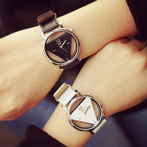 Hollow Triangle Leather Strap Watch