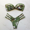 Image of Floral Green High Waist Bikini Set