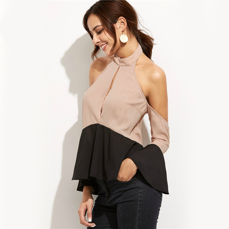 Two Tone Off The Shoulder Halter Top