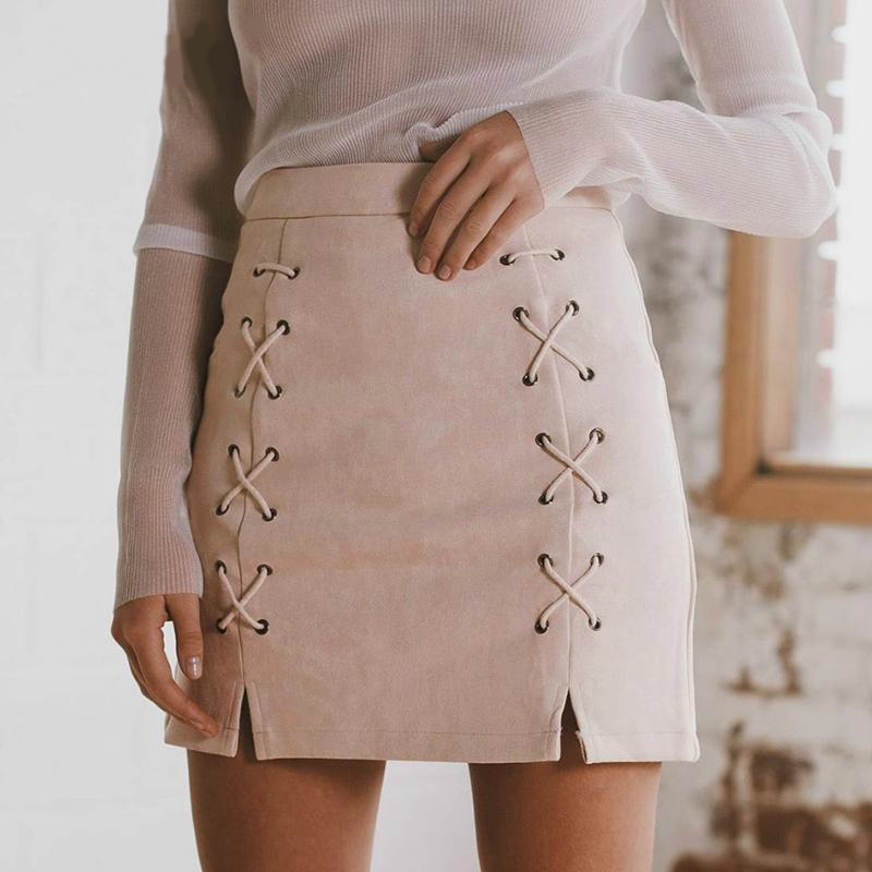 Lace Up Suede Mini Skirt