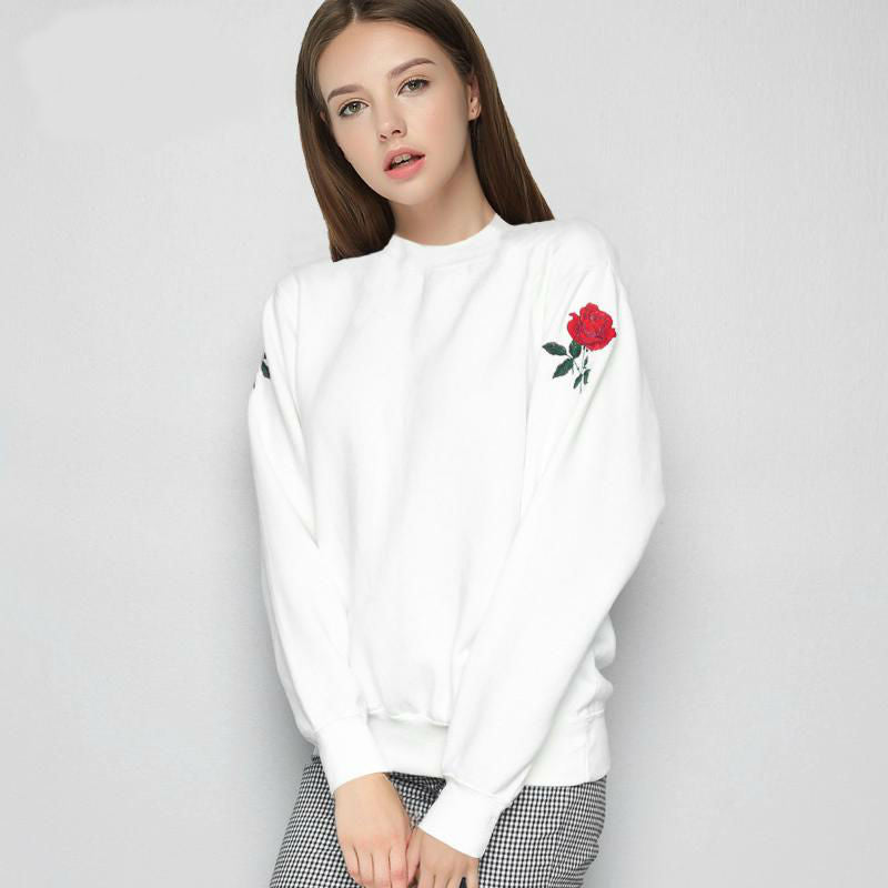 Casual Embroidered Rose Sweater