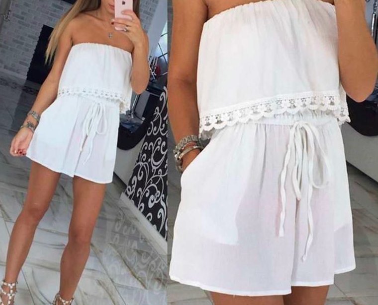 White Strapless Ruffle Sleeveless Romper