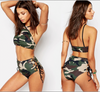 Image of Camouflage High Neck/Waist Bikini Set