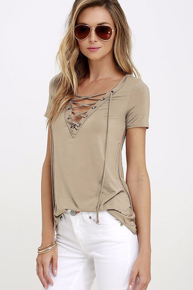 V-NECK LACED TOP