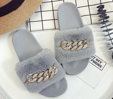 Fluffy Chained Flip Flops