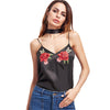 Image of Black Rose Patch Cami Top (With Neck Tie)