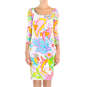 Tropical Flower Lycra Dress - Sleeves