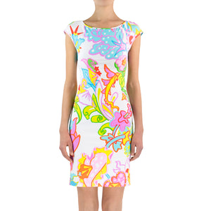 Tropical Flower Lycra Dress - Back Draped