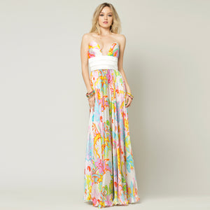 Tropical Flower Dress Long