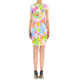 Tropical Flower Lycra Dress - Short Sleeves