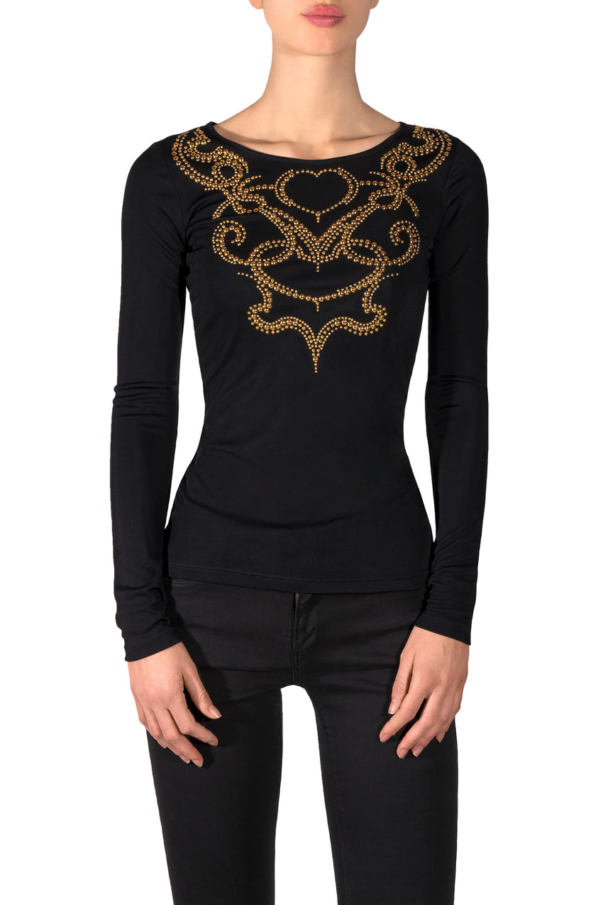 Golden Studs Black T-Shirt